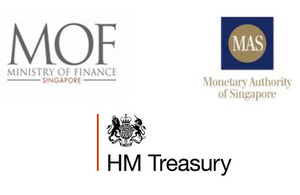 Logos of HM Treasury, Singapore Ministry of Finance and Monetary Authority of Singapore