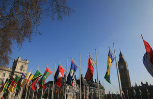 Commonwealth flags outside the HMRC headquarters in London (© Crown copyright, Foreign & Commonwealth Office)