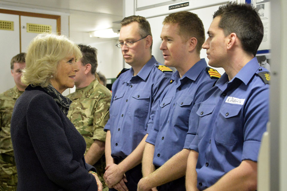 The Duchess of Cornwall meeting members of HMS Illustrious' medical team