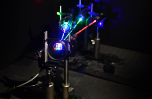 Three lasers being blocked by an optically addressable light valve [Picture: Crown copyright]