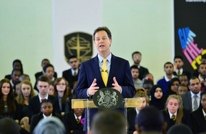 Nick Clegg speaking at Southfields Academy