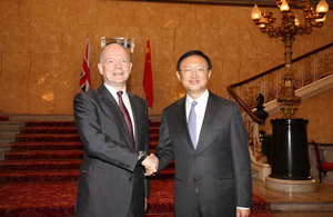 The Foreign Secretary and State Councillor Yang held talks on Thursday and Friday this week.