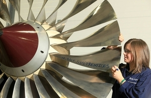 Apprentice with Rolls Royce turbine blades