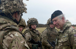 The Prince of Wales talking to soldiers from 1st The Queen's Dragoon Guards [Picture: Corporal Barry Lloyd RLC, Crown copyright]