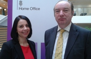 Jo Youle, chief executive of Missing People, and Crime Prevention Minister Norman Baker