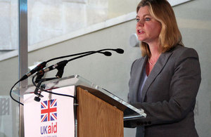 International Development Secretary Justine Greening speaking at the Transform Her Future event in London. Picture: Lindsay Mgbor/DFID