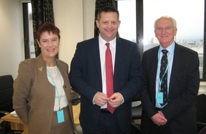 picture of CoRWM Chair, Laurence Williams with Alun Davies, Welsh Minister and Lynda Warren, CoRWM member.