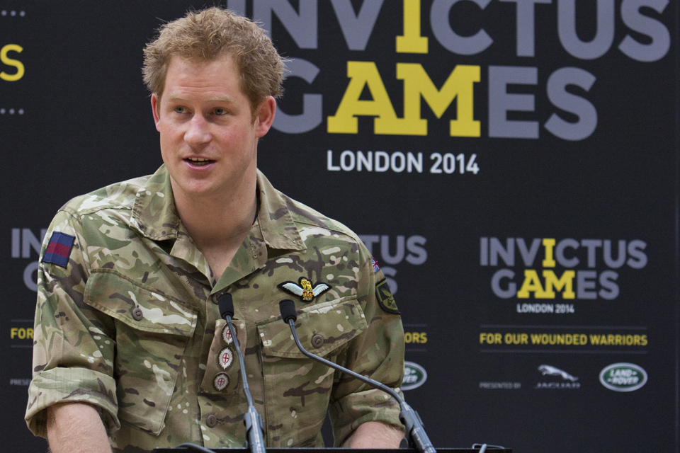 Prince Harry speaking at the launch of the Invictus Games