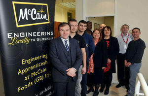 George Eustice with apprenticeships from McCain