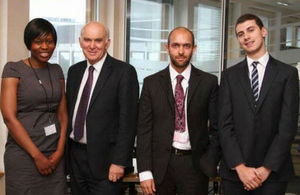 Vince Cable with BIS apprentices