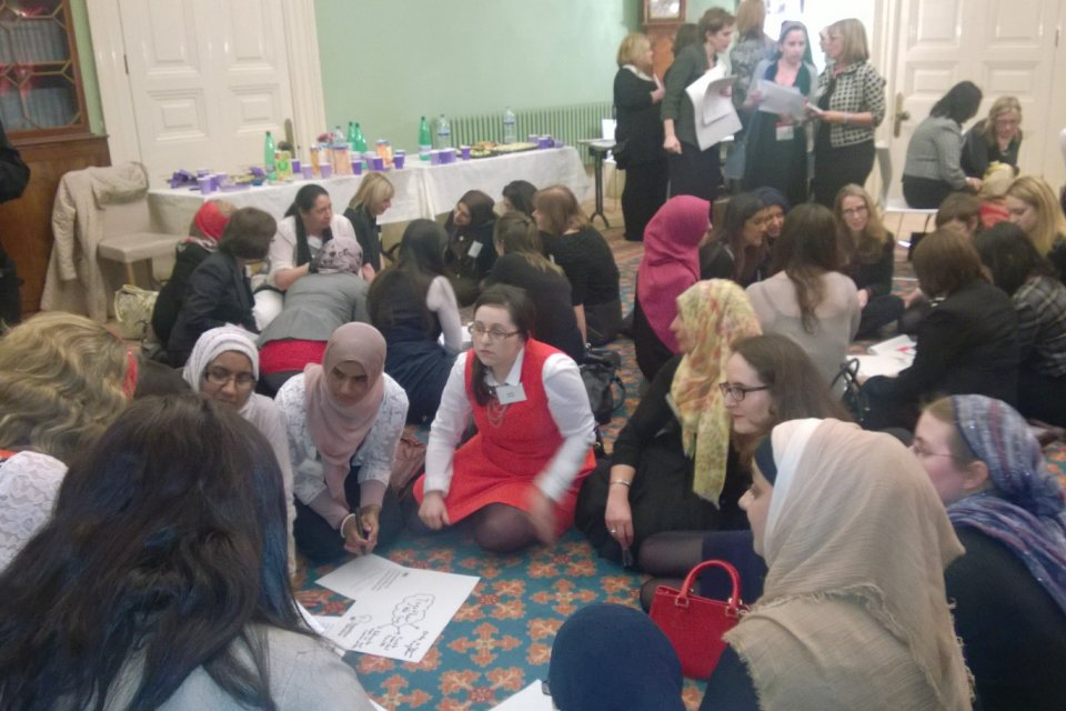 Young women at the International Women's Day 2014 event.