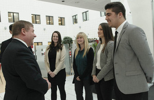 Armed Forces Minister Mark Francois meets MBDA apprentices [Picture: Copyright MBDA]