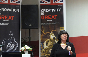 """Margaret Manning delivering a 'Growth and Entrepreneurship' dialogue on """"The Export Challenge: Growing Your Business in a Volatile World Market"""""""