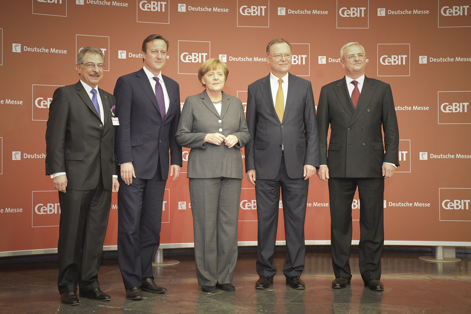 David Cameron and Chancellor Merkel at CeBIT trade fair