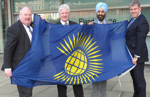 Eric Pickles, Bruno Peek (Pageantmaster for Fly a Flag for the Commonwealth), Peter Virdee (Virdee Foundation) and Brandon Lewis