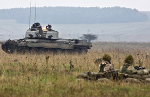 A Challenger 2 main battle tank crosses Salisbury Plain during an exercise [Picture: Crown copyright]