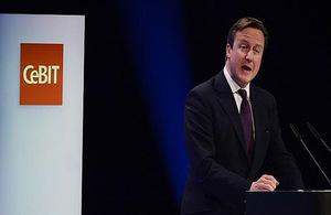 David Cameron en la feria de nuevas tecnologías CeBIT 2014