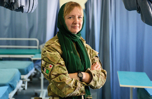 Reservist Captain Lisa Irwin in an Afghan National Army hospital in Camp Shorabak [Picture: Sergeant Dan Bardsley RLC, Crown copyright]