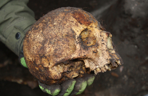 Presumed early 19th century male skull [Picture: via MOD]
