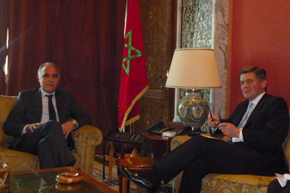 Hugh Robertson with Moroccan Minister for Foreign Affairs Salaheddine Mezoua