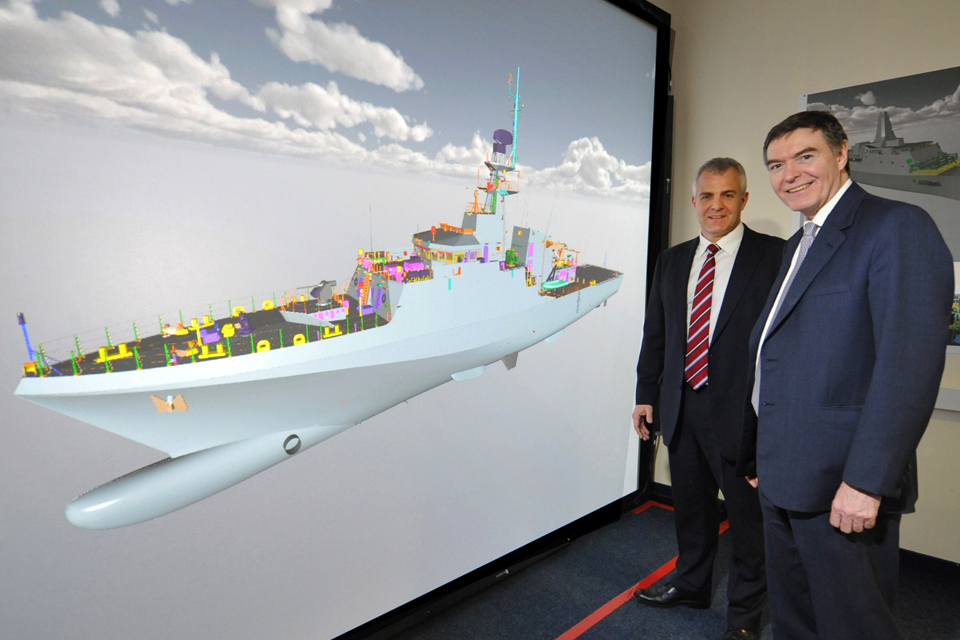 Computer-generated image of the Royal Navy's new OPV