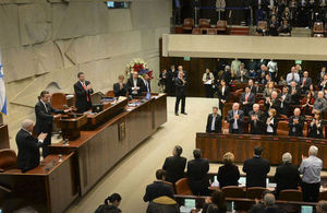 David Cameron addresses the Knesset