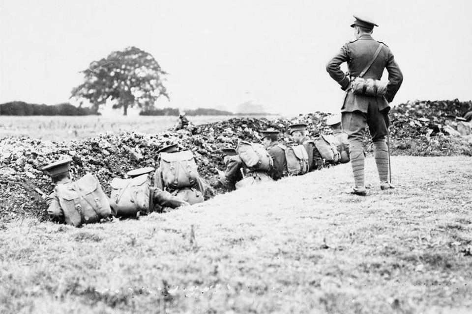 British soldiers manning a trench during training in September 1915