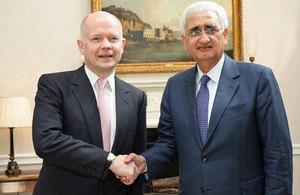 Foreign Secretary William Hague meeting Shri Salman Khurshid, Indian External Affairs Minister