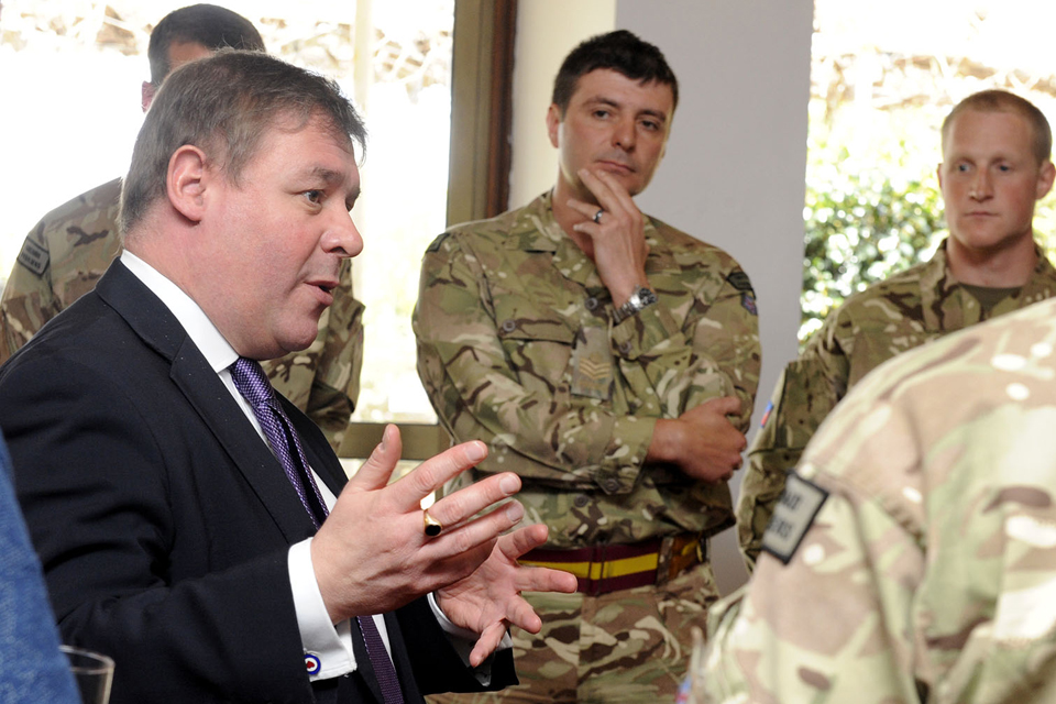 Mark Francois (left) with armed forces personnel