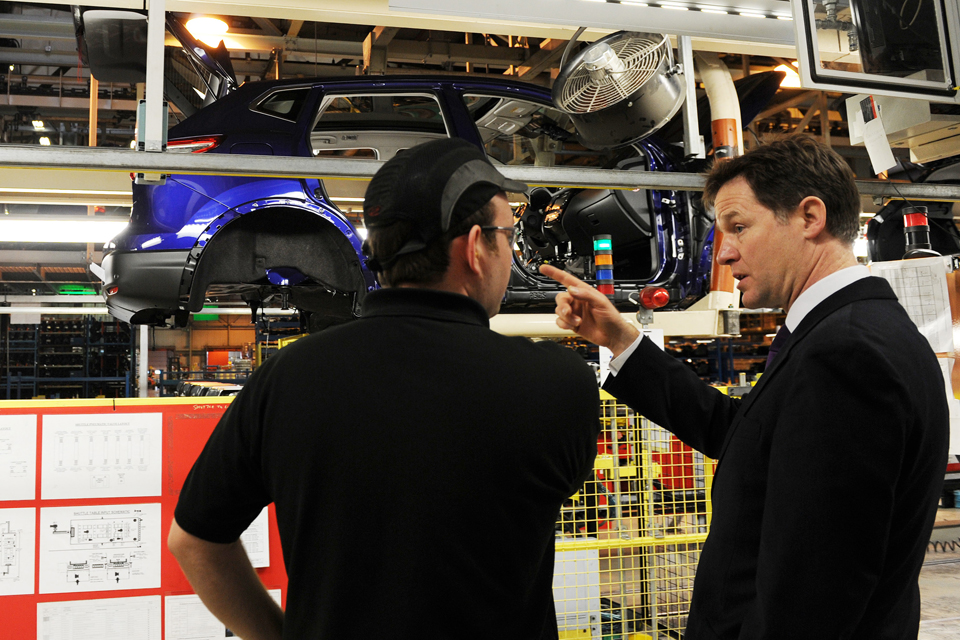 Nick Clegg at the Nissan plant in Sunderland during the City Deal announcement.