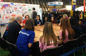 Vince Cable spaeking to young people at The Big Bang Fair