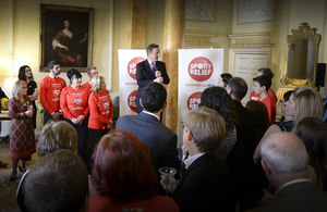 David Cameron welcomes Sport Relief fundraisers to 10 Downing Street.