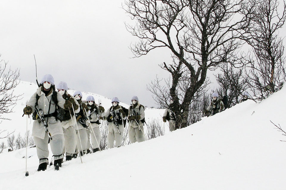 Royal Marines reservists undergoing cold weather and mountain training in northern Norway