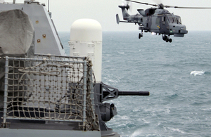 A Royal Navy Wildcat helicopter makes its final approach over the Irish Sea to land on HMS Dragon [Picture: Crown copyright]