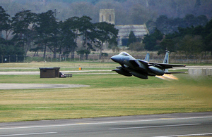An F-15C Eagle from the US Air Force 493rd Fighter Squadron takes off from RAF Lakenheath [Picture: US Air Force]