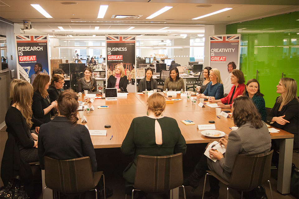 Maria Miller at a roundtable discussion for women in business, technology, and media.