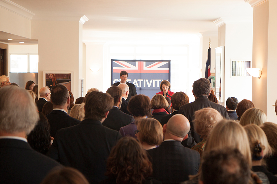 Maria Miller addresses supporters of British cultural institutions at the British Residence in New York.