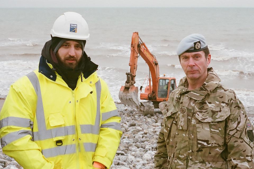 Lieutenant Colonel Dickie Bishop with Dan Burden of Mackley Construction