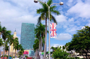 BritWeek Miami 2014 banners in downtown Miami, Florida