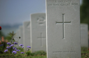 The headstone of an unknown soldier of the First World War (library image) [Picture: Allan House, Crown copyright]
