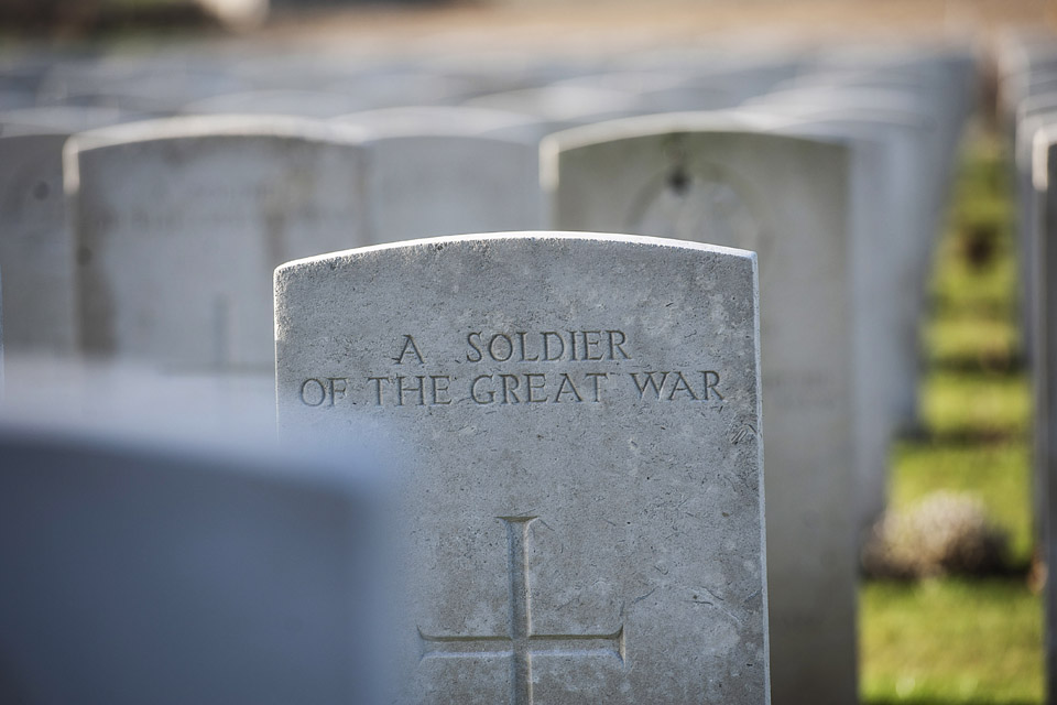 The headstone of an unknown soldier