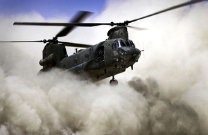 An RAF Chinook helicopter coming in to land (library image) [Picture: Petty Officer Hamish Burke, Crown copyright]