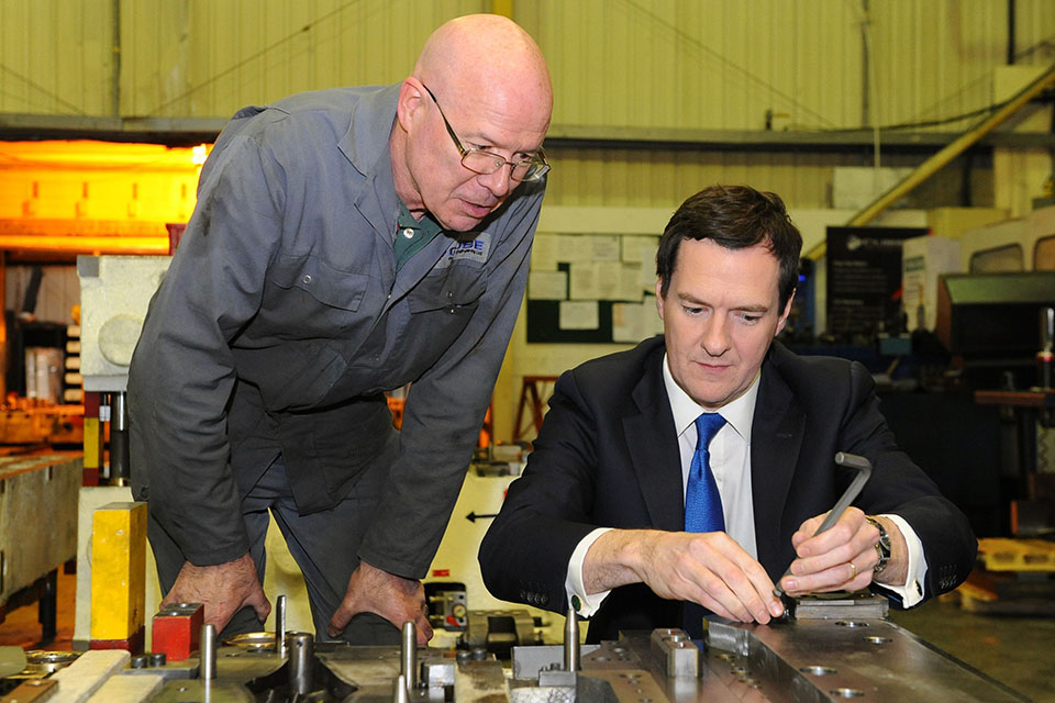 Chancellor with chargehand Paul Wicket during a visit to Cube Precision Engineering in Rowley Regis