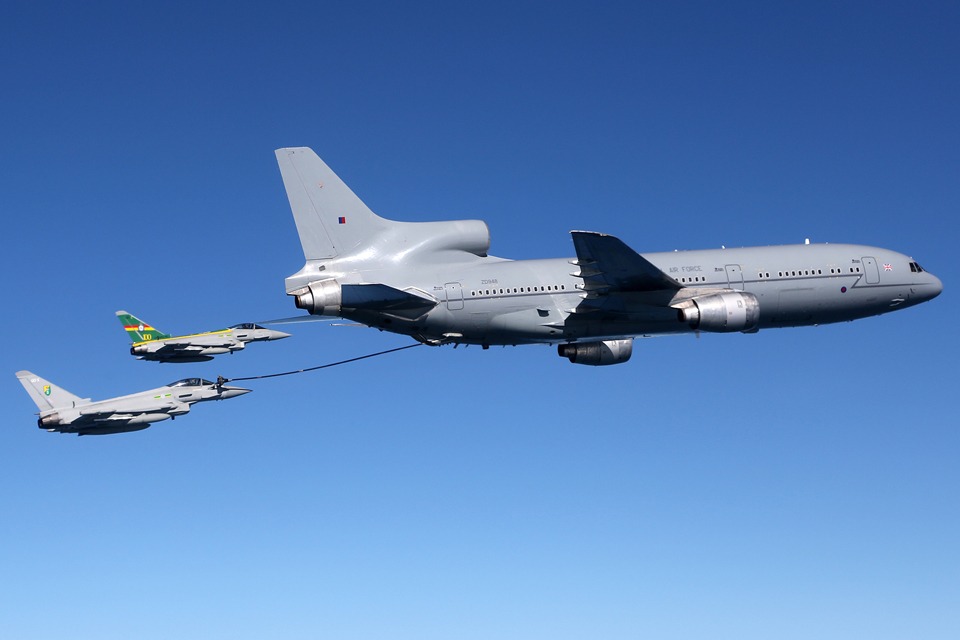 An RAF Typhoon is refuelled by a TriStar over the North Sea