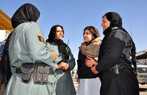 Baroness Warsi meeting Afghan policewomen in Helmand