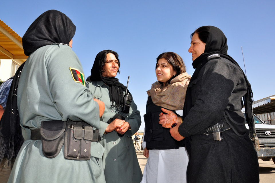 Baroness Warsi meeting Afghan policewomen at Helmand Provincial Police Headquarters, March 2013.