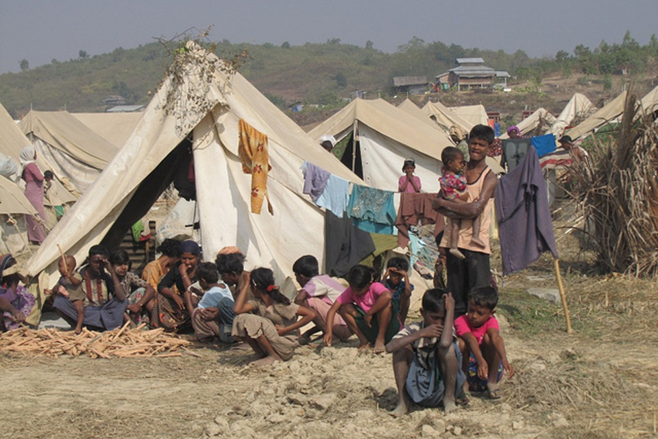 The Rohingya community in Myebon, Burma, was brutally evicted and their homes and belongings burnt to the ground.  The government provided them with tents and water some 100 metres from their neighbourhood. Photo Credit: Mathias Eick, EU/ECHO January 2013