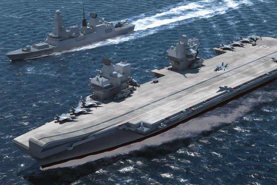 Computer-generated image of a Queen Elizabeth Class carrier