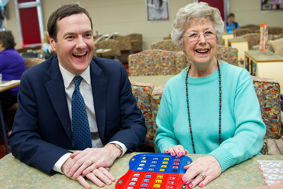 Chancellor George Osborne during his visit to Castle Bingo in Cardiff.