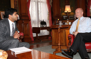 Foreign Secretary William Hague meeting Gopal Rao